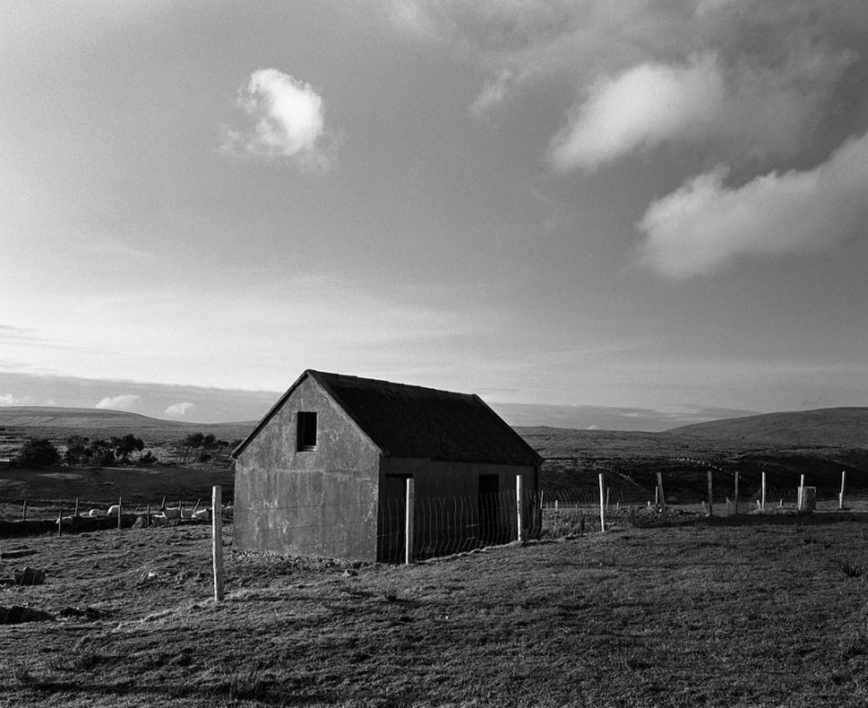 The Big Sky Grey Stable and Sheep Fence, Archival Silver Gelatin print, edition 20, 40X50 cm, 2012